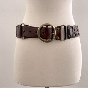 American Eagle Braided Woven Leather Belt Brown S